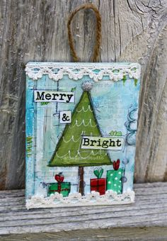 Original Hand Painted Christmas Tree Ornament - Mixed Media Original - Merry & Bright - Ready to Hang Painted Christmas Cards, Christmas Tree Painting, Christmas Canvas, Christmas Tree Ornaments, Christmas Decorations, Christmas Mix, Christmas Projects, Handmade Christmas, Christmas Signs
