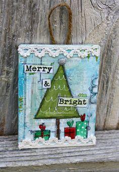 Original Hand Painted Christmas Tree Ornament - Mixed Media Original - Merry & Bright - Ready to Hang