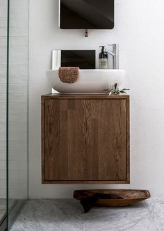 simple bathroom vanity made from walnut— Bathroom Renos, Laundry In Bathroom, Simple Bathroom, Bathroom Faucets, Bathroom Storage, Bathroom Ideas, Wooden Bathroom, Towel Storage, Master Bathroom