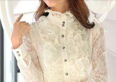 CAMISA DE RENDA COLAR MANDARIN http://www.shopface.com.br/camisa-feminina-de-renda