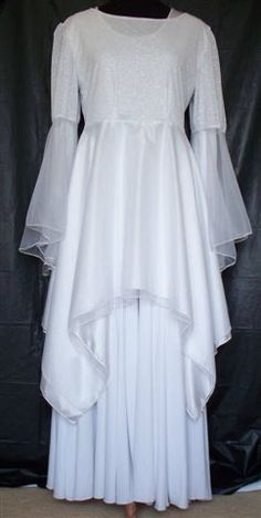Praise Dance Overlay Tops | White/Silver Knit Dance Top w/Double Skirt & Bell Chiffon