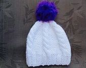 Excited to share the latest addition to my #etsy shop: White slouchy Pom Pom hat, knit slouhy beanie, knitted white hat