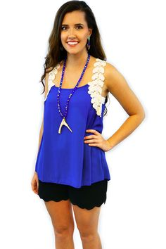 Royal Blue Crochet Top - $34.95 - The Royal Blue Crochet Top, is just an amazing tank top for the summer.  The cream colored crochet, V's from the back over the shoulders, making it POP!  | available at http://www.envyboutique.us/product/royal-blue-crochet-top/ |  #Envy #Boutique #fashion #fashiontrends