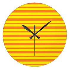 Thick and Thin Orange and Yellow Stripes Large Clock - home decor design art diy cyo custom