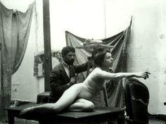 Alfons Mucha a Czech Art Nouveau painter and decorative artist in studio with nude female muse model, Art Nouveau, Famous Artists, Great Artists, Alphonse Mucha Art, Mucha Artist, Illustrator, Artists And Models, Portraits, World's Fair