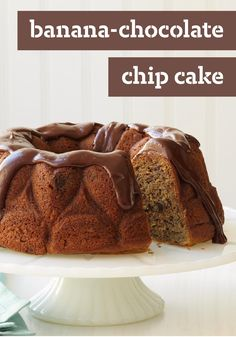 Banana-Chocolate Chip Cake — How many monkeys jumping on the bed? None, when you serve this delectable dessert recipe with ripe bananas, chocolate chunks and creamy pudding mixed right in.