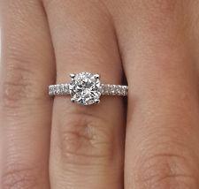 1.50 CARAT Redondo Cortar D/VS1 Diamante solitario compromiso anillo 18K Oro Blanco