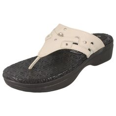 LADIES ROCKPORT SANDALS IN CREAM/BLACK - STYLE -K61179/FANESSA RIVET THONG SLIDE