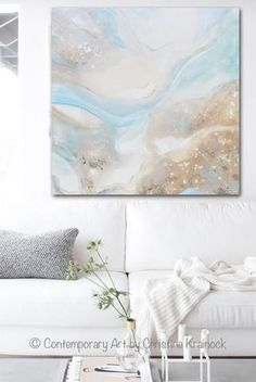"""Swept Away"" Original Art Abstract Painting Coastal Pale Aqua Blue Sea Foam Green Grey coastal inspired washes of color and depth, 36x36"" canvas, -eliciting the calm, peaceful feeling of being ""Swept Away"" into a relaxed, ""vacationing at the shore"", state of mind. Beautiful seascape, landscape, contemporary, large, wall art, perfect for coastal style / urban farmhouse home decor. Artist, Christine Krainock"