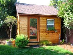 The Large Custom Palmerston Pool House seen here is located in El Cerrito, California with its Planed Cedar Siding. Pool Shed, Backyard Sheds, Little House Plans, Little Houses, Backyard Studio, Backyard Retreat, Single French Door, Free Shed Plans, Pool Cabana
