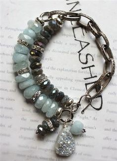 labradorite aquamarine chunky drusy charm bracele