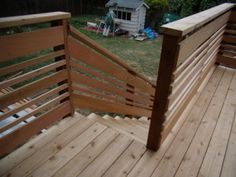 Culpepper Deck Rebuild Fall 2009 I removed the existing boards that were rotting and replaced them with tight-knot, western red cedar decking. The rebuild included new posts, railings and stairs. I also replace… Horizontal Deck Railing, Deck Stair Railing, Deck With Stairs, Cool Deck, Diy Deck, Railing Design, Deck Design, Railing Ideas, Small Garden Pergola