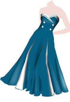 Retro dress * Blue & White *