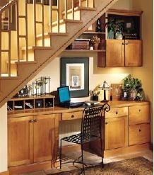 A neat, compact office under the stairs.  Photo courtesy AristoKraft