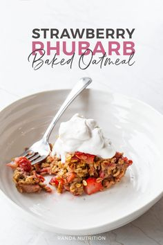 If you're looking for healthy strawberry rhubarb recipes you have to try this strawberry rhubarb baked oatmeal. It's perfect for meal prep breakfasts and is a healthier version of a crisp or dessert casserole. #strawberryrhubarb #bakedoatmeal Delicious Breakfast Recipes, Savory Breakfast, Best Breakfast, Brunch Recipes, Recipes Dinner, Summer Recipes, Breakfast Ideas, Classic Scones Recipe, Baked Oatmeal Recipes