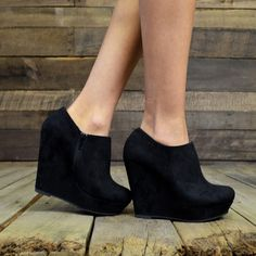 City Chic Black Suede Wedge Booties | Amazing Lace