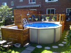 patio Above Ground Pool Landscaping, Above Ground Pool Decks, In Ground Pools, Backyard Patio Designs, Pool Backyard, Decks Around Pools, Pools For Small Yards, Pool Hacks, Mini Pool