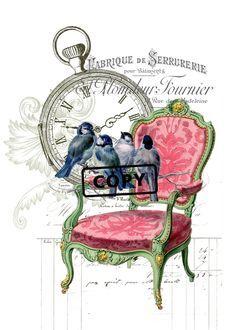 Bügelbilder - Vintage Bügelbild Shabby Rose Bird Vogel A4 NO. 3 - ein Designerstück von Doreens-Bastelstube bei DaWanda
