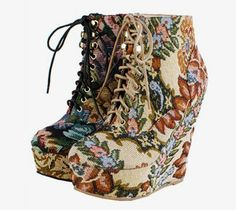 Platform Wedge Ankle Booties Boots Lace Up Floral Print NEW High Heel Shoes