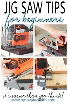 Tip 2 is great! How to Use a Jig Saw - Step by Step tutorial with pictures and tips, great for beginniners. Jig saws are great for crafts, art and diy projects. This guide shows what blades to use and some easy hacks and how to make your next woodworkin Woodworking Power Tools, Easy Woodworking Projects, Popular Woodworking, Diy Pallet Projects, Woodworking Furniture, Fine Woodworking, Wood Projects, Woodworking Classes, Wood Furniture