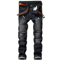 26.99$  Watch now - http://ainpo.worlditems.win/all/product.php?id=32795774051 - 2017 New Pleated patchwork locomotive jeans fashion Holes  biker jeans men cotton street style skinny men jeans fear of god