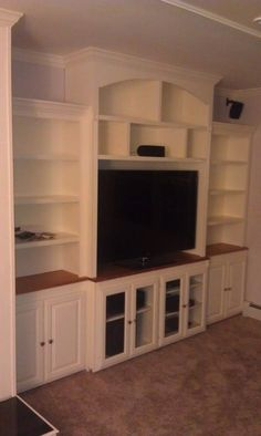 Custom Made Entertainment Centers and Bookshelves. Yes, Tom. My Living Room, Home And Living, Built In Wall Units, Built In Entertainment Center, Entertainment Room, Muebles Living, Up House, Built Ins, My Dream Home