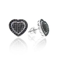 Black Diamond Heart Earrings Studs 0.5ct 10K Gold