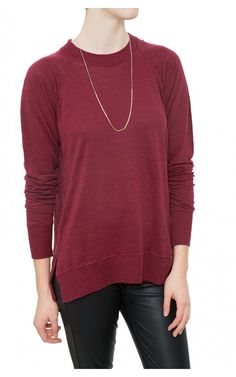 In a rich burgundy hue, the Isabel Marant Étoile Kira Tee Shirt ($240) looks amazing paired with denim or leather and layered necklaces. #isabelmarant #etoile #dianiboutique #tee