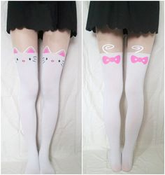 White sweet cute kitty cat tattoo tights pantyhose gothic lolita emo punk NWT