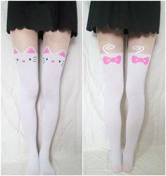 White sweet cute kitty cat tattoo tights pantyhose gothic lolita emo punk NWT