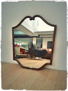 Grand Miroir De Bistrot Vintage Modèle Moustache