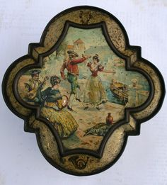 Splendid Huntley and Palmer 1893 'Harmony' shaped biscuit tin