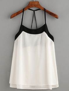 Top tiras cami - blanco-Spanish SheIn(Sheinside)