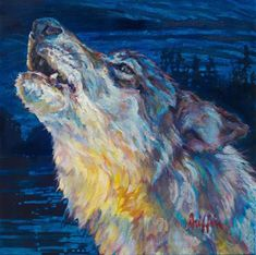 "Contemporary Artists of Pennslyvania: Colorful Contemporary Wildlife Animal Art,Wolf Painting ""SUMMER SOLSTICE"" by Contemporary Animal Artist Patricia A. Griffin"