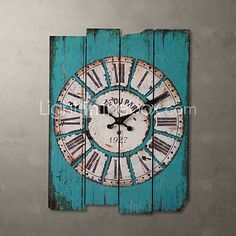 H15 Country Style Light Blue Wall Clock - USD $ 19.99