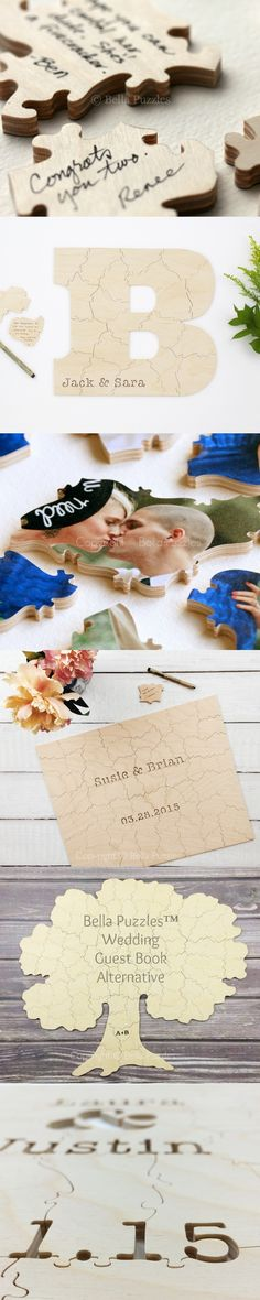 These custom-made wooden jigsaw puzzles are an amazing guest book alternative for weddings, graduations, birthdays, anniversaries, baby showers, and other parties. They're customized with names, dates, or initials. The photo puzzle is a rectangle, but the natural wood puzzle styles come in many different shapes – even entirely custom ones! Guests will be impressed and entertained as they sign THIS guestbook. The signed puzzle is going to look great framed later, too. Click to see a dozen sty...