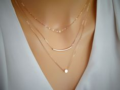 Rose Gold Layered necklace, Dot necklace , Stardust & Curved bar necklace, 3 Separete necklaces, Delicate rose gold layered necklace set