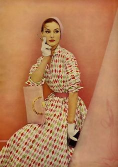 1955 harlequin print dress