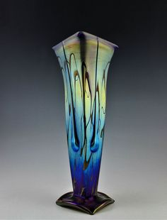 Good Old Days - Glamorous Bohemian  Art Noveau Iridescent Large Glass Vase 14''
