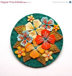 SUMMER SALE HYDRANGEA felt brooch pin with freeform embroidery - scandinavian style