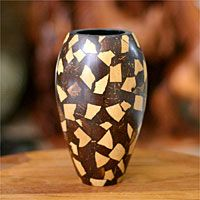 Handcrafted coconut shell vase + more sustainable wood, grass and alternate material gifts, from home decor to jewelry. Coconut Wine, Coconut Shell, Wood Gifts, Wood Carvings, Wedding Anniversary Gifts, Philippines, Sustainability, Grass, House Ideas