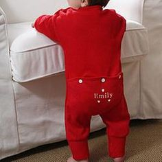 Personalized Baby Coverall Sweetheart Red Romper  $22.45