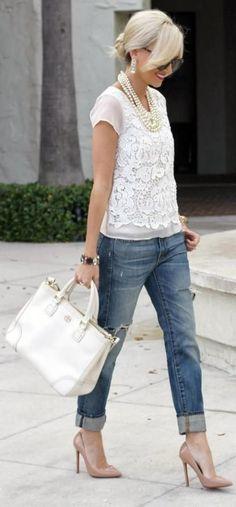 cute white lace top+denim