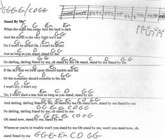 Stand By Me (Ben E King) Capo 2nd - Guitar Chord Chart with Lyrics - http://www.youtube.com/munsonmusiclive