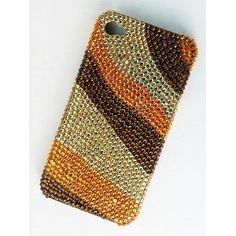 iPhone 4S 4 Mod Brown Topaz Stripe Phone Case Cover Swarovski Crystal Element