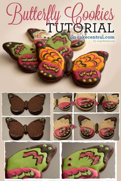 Marbled Royal Icing Butterfly Cookie Tutorial Tutorial on Cake Central Summer Cookies, Fancy Cookies, Iced Cookies, Cute Cookies, Cookies Et Biscuits, Cupcake Cookies, Owl Cookies, Cookie Tutorials, Cake Decorating Tutorials