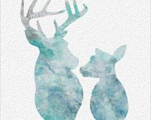 DEER Watercolor Painting Art Print  5 x 7 Archival Watercolor Painting Print Buck & Doe Wall Decor Home, Office, Childrens Room or Gift