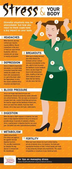This pin is useful because it gives information on how stress effects the body. Stress isn't good for the body physically and can lead to depression as well. Stress & Your Body Dealing With Stress, Stress Less, Reduce Stress, How To Not Stress, What Is Stress, Stress On The Body, Health And Wellness, Health Tips, Mental Health