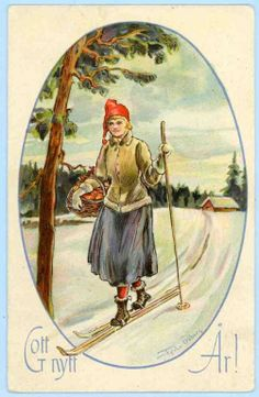 Tycho Ödberg - Gott Nytt År - Dam på skidor med korg - 1933 på Tradera. https://es.pinterest.com/annygl/lhiver8-le-ski/