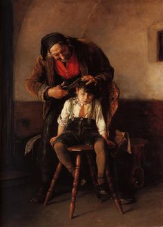 The Barber, 1880 Nikolaus Gysis – Greek Nikolaos Gyzis is considered one of Greece's most important painters. Figure Painting, Painting & Drawing, Art Magique, Arte Peculiar, Greek Paintings, Ouvrages D'art, Greek Art, Art Database, Contemporary Artists